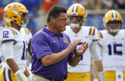 Oct 7, 2017; Gainesville, FL, USA; LSU Tigers head coach Ed Orgeron prior to the game against the Florida Gators at Ben Hill Griffin Stadium. Mandatory Credit: Kim Klement-USA TODAY Sports